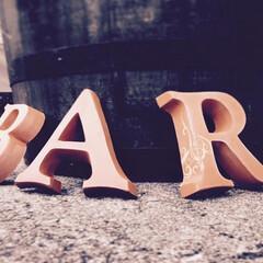 アルファベット煉瓦/煉瓦/レンガ/アルファベットオブジェ アルファベット煉瓦に土でアラベスク(唐草…(1枚目)