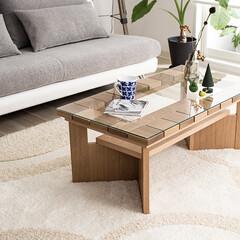 センターテーブル/ガラステーブル/無垢/天然木/コーヒーテーブル/リビングテーブル/... タイル状の無垢材がおしゃれなテーブル、コ…
