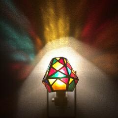 我が家の照明 ステンドグラスのフットライト