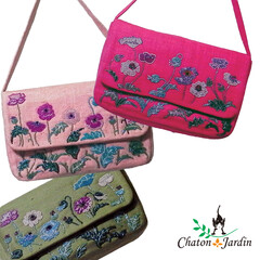 bag/バッグ/シルク/ビーズ/ビーズ刺繍/ピンク/... 鮮やかで軽いシルクの生地に、 ポピーの花…