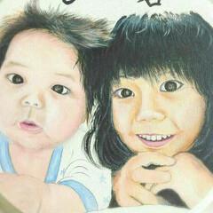 オーダー受付中/プレゼント/ペット似顔絵/子供似顔絵/人物画/似顔絵/... 子供の成長を記念に残すために製作しました…