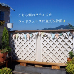 DIY女子/DIYガーデン/ガーデンフェンス/ウッドフェンス/ベランダガーデニング/雨季ウキフォト投稿キャンペーン/... おはようございます🎶 バルコニーの西側の…