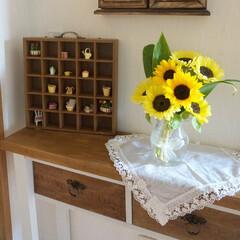 花のある暮らし/アンティーク風/ブライワックス/机DIY/コンソールテーブル/DIY/... 手作りのコンソールテーブルです(^^♪