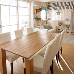 ワトコ社 ワトコオイル浸透性木材用塗料 ミディアムウォルナット 1L W-12(ペンキ、塗料)を使ったクチコミ「我が家のダイニングテーブル✨ 購入した時…」