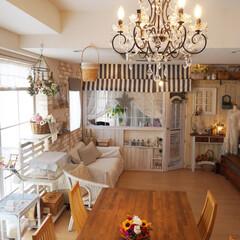 おうち/シャンデリア/部屋全体/花のある暮らし/ダイニングテーブル/セルフリノベーション/... 家が綺麗になった日は、花を飾りたくなりま…