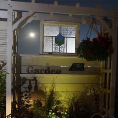 ステンドグラス/パーゴラ/ガーデンテラス/秋 月明かりに照らされて…🌙*.。