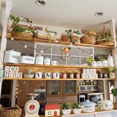 キッチン雑貨/カフェ風インテリア/ナチュラルインテリア/キッチンカウンター/ディアウォール/手作りインテリア/... こんばんわ~ キッチンカウンターの上を模…