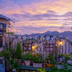 夕焼け空/ガーデンテラス/ベランダガーデニング/DIY/LIMIAインテリア部 こんばんは🎶 今週、ずっと雨続きだったけ…