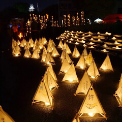 花魁道中/竹灯籠/みずあかり/熊本城 神秘的でロマンチックな夜🌃🌙*゚ 花魁道…