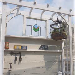 ステンドグラス/ガーデン雑貨/ベランダ菜園/セルフリノベーション/マンション暮らし/ガーデンテラス/... おはようございます⛅️ ずっと憧れて欲し…