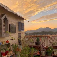 ベランピング/テラス/garden/癒しの時間/夕焼け空/ナチュラルガーデン/... こんばんわ~ 今日は幻想的な夕焼け空を見…