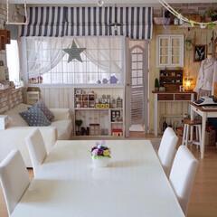 ナチュラルインテリア/カフェ風/間仕切り/板壁/ダイニングテーブル/リビング/... おはようございます🎵 私の手作りインテリ…