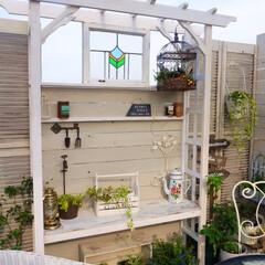 癒しの空間/マイガーデン/ガーデンテラス/楽天市場/アンティーク/ステンドグラス/... いつも憧れのお庭でお見掛けしていたパーゴ…