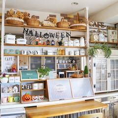 キッチン/キッチン収納/ハロウィン/雑貨/DIY/インテリア/... 手作りのキッチンカウンターにも ハロウィ…