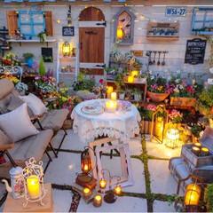 癒しの空間/キャンドルナイト/花のある暮らし/ガーデニング/ルーフバルコニー キャンドルの灯り🕯✨