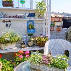 ルーフバルコニー/テラス/花の寄せ植え/ガーデン雑貨/ガーデニング/ベランダガーデニング 晴れた日のガーデンテラス☀️🌈 お日様を…