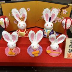 ちりめん/ウサギ/お雛様/ピンク 我が家のお雛様😊✨ 可愛いウサギさんです💕