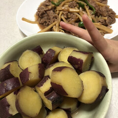 子供からのリクエスト/夕飯/さつま芋の甘煮/好物/食事情 子供の好きなメニュー(笑) さつま芋の甘…
