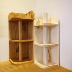収納/ラック/無垢材/パイン材/マルチラック/住まい/... 左が木工教室に向けて試作した多機能可変型…
