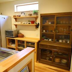 アンティーク家具/無垢材/キッチン/インテリア/注文住宅/和モダン/... このアンティーク家具を入れるのを前提に中…