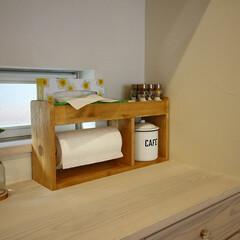 キッチン/キッチンペーバー/収納/調味料棚/キッチンペーパーホルダー/DIY/... キッチンペーパーホルダーに調味料やティッ…