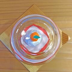 ハンドメイド/折り紙/ペーパークラフト/紙/ペーパー/鏡餅/... 橙で遊んでしまう猫からガード出来るミニ鏡…
