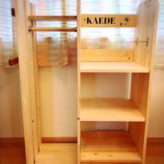 ステンシル自作/ステンシル/手作り家具/ハンドメイド家具/手作り/ハンガーランドセルラック/... 久々の投稿。 入学おめでとう🌸🐝 姪っ子…