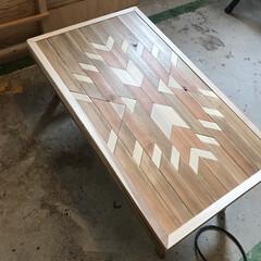 オルテガ柄天板/DIY/ハンドメイド HOMEMADE家具。 オルテガテーブル…