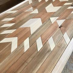 オルテガ柄天板/DIY/ハンドメイド HOMEMADE家具。 オルテガテーブル…(2枚目)