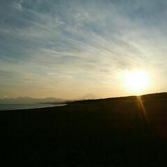 富士山/夕日/湘南/海/お出かけ 富士山と夕日と海🌊