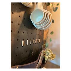 アイアンペイント アイアンブラック(その他塗料、塗装剤)を使ったクチコミ「セリアのパンチングボードを 使ってキッチ…」(2枚目)