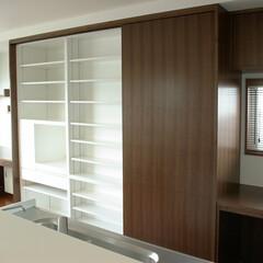 キッチン/kichen/収納/ウォルナット/大収納/収納力/... 収納力のあるキッチンバック壁面収納。 大…