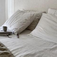 アイボリー 無地壁紙シール ウォールステッカー  60cm×1(ウォールステッカー)を使ったクチコミ「ベッドルーム 今日はゆっくりの朝。 ホワ…」(1枚目)