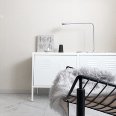 模様替え/IKEA/塩系インテリア/モノトーン/モノトーンインテリア/シンプルインテリア/... 冬の模様替え中です♩ 最近の色配分は色素…