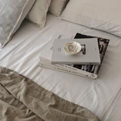 クッション 中材 45×45 中身 ヌードクッション 45×45cm(クッション)を使ったクチコミ「ベッドルーム ここ数日暑い日が続いている…」