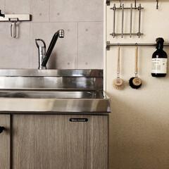 IKEA/キッチンdiy中/キッチンDIY/ミニマル/ミニマリスト目指します/ミニマリスト/... 我が家ではIKEAのレールは鍋敷きを掛け…