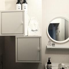 IKEA/ミニマリスト目指します/ミニマリスト/ミニマル/洗面所リメイク/洗面所改造/... 洗面所は初めから付いていた鏡がダサかった…