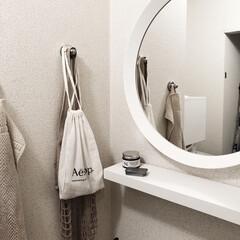 IKEA/北欧インテリア/ホワイトインテリア/洗面所改造/洗面所リメイク/洗面所インテリア/... 北欧インテリア風にdiyした洗面所。 ホ…