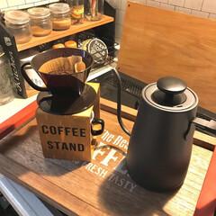 カフェトレイ/コーヒー好き/温調ケトル/山善/コーヒードリッパースタンド/コーヒードリッパー/... コーヒードリッパー、白を使ってたんだけど…