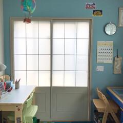 ミルクペイント/リメイク/障子リメイク/和室を洋室に/和室/子供部屋/... 子供部屋にしている和室の障子をリメイクし…