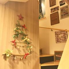 クリスマス/流木ツリー/流木/カフェ風インテリア/階段/ハンドメイド/... DIYした流木ツリーです✨ 明日はもうク…
