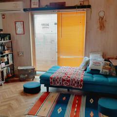 ソファーベッド/部屋全体/リビング/DIY/リノベーション/カフェ風 ソファーベットのイベントのトップに我が家…
