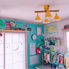 LED照明/カラフルインテリア/障子リメイク/和室を洋室に/子供部屋/DIY/... 和室の子供部屋のライトを新調💕 電球色に…
