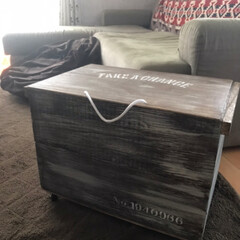 木箱/収納ボックス/キャスター付き収納/キャスター付き/DIY/ハンドメイド/... キャスター付きの収納ボックスを作りました…