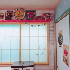 迷走中/アイデア公開/ターナー/ニッペホーム/ふすまリメイク/障子リメイク/... さーむーいー😂  和室の子供部屋の窓を塗…