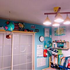 LED照明/カラフルインテリア/障子リメイク/和室を洋室に/子供部屋/DIY/... 和室の子供部屋のライトを新調💕 電球色に…(3枚目)
