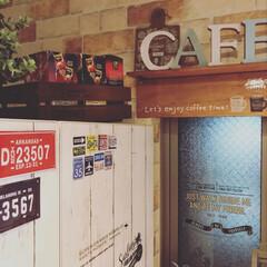 ナンバープレート/ベトナムコーヒー/ステッカー/冷蔵庫リメイク/カフェ風インテリア/100均/... 主人の職場にベトナム人が何人かいるので、…