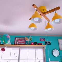 LED照明/カラフルインテリア/障子リメイク/和室を洋室に/子供部屋/DIY/... 和室の子供部屋のライトを新調💕 電球色に…(2枚目)