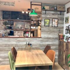 壁面インテリア/手作りハンバーガー/カフェ風インテリア/カウンターキッチン/メニューボード風/ラブリコ/... 我が家のカフェ風ダイニング゚*✩‧₊˚ …