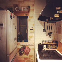 カフェ風キッチン/カフェ風インテリア/旦那飯/男の料理/ナポリタン/料理男子/... 夜のキッチン✨  2枚目は、旦那めし💕 …